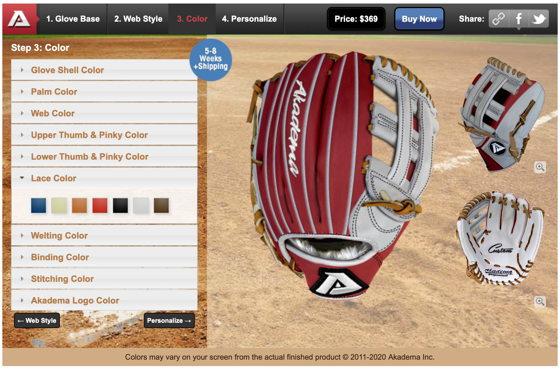 baseball glove builder web design and development