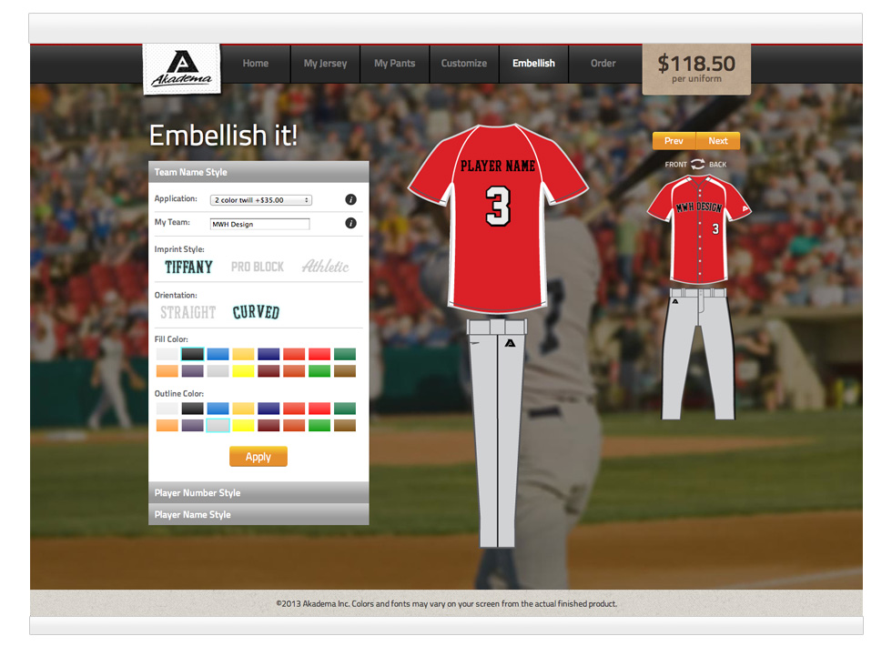 baseball uniform builder web design and development
