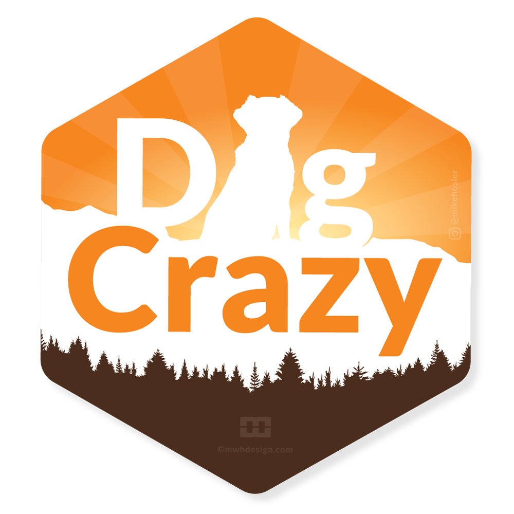 dog crazy sticker design by mike hosier