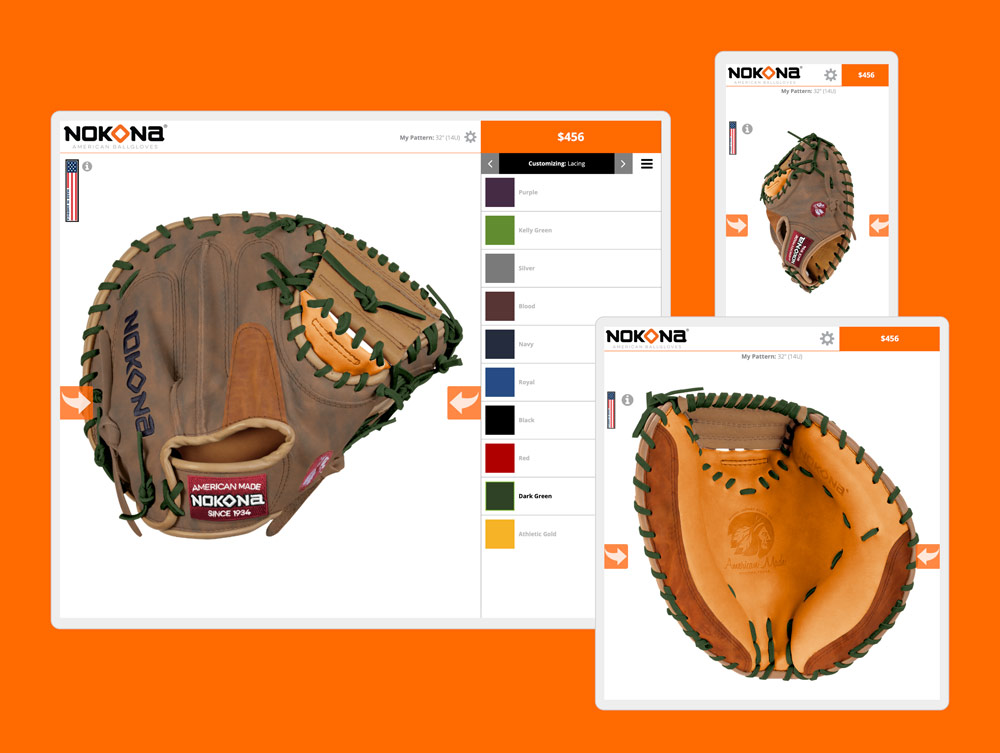 nokona glove builder web design by mike hosier